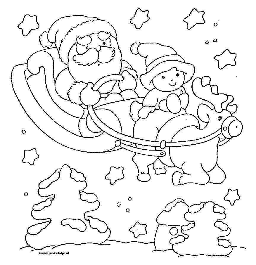 Kleurplaten Kerstman Met Kerstboom.Kerstpagina Pinkelotje Kleurplaten