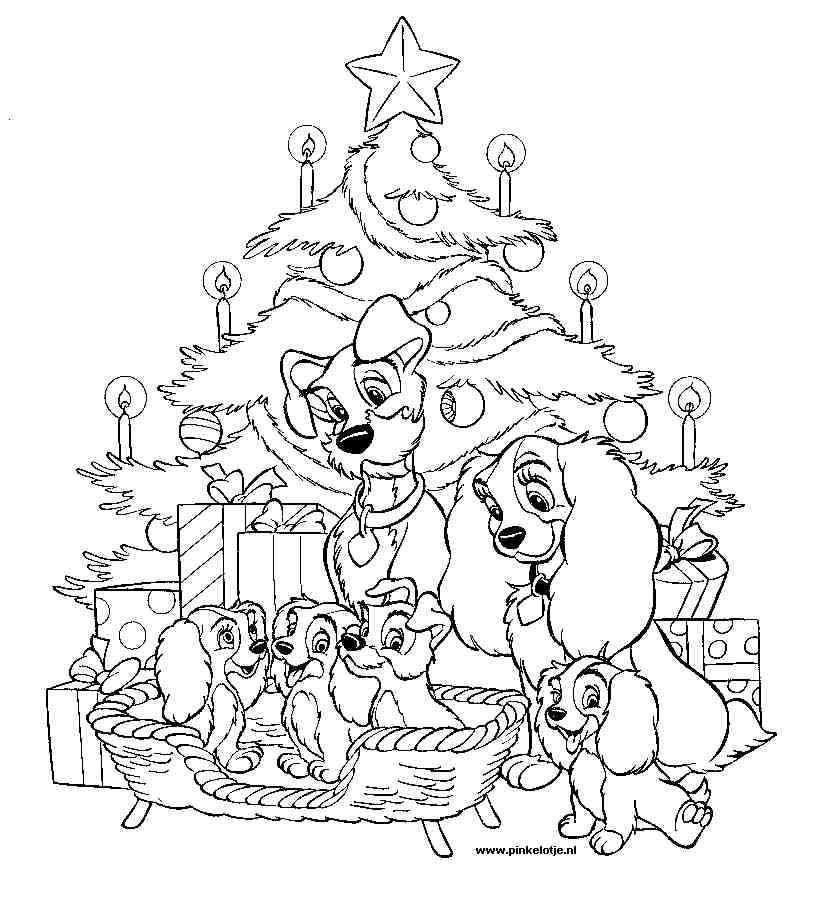 kleurplaten disney kerst